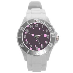 Pink bubbles Round Plastic Sport Watch (L)