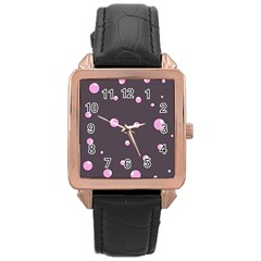 Pink bubbles Rose Gold Leather Watch