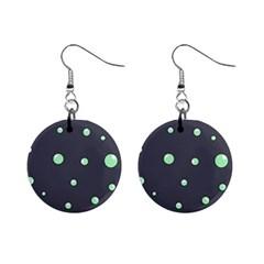 Green bubbles Mini Button Earrings