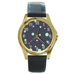 Green bubbles Round Gold Metal Watch