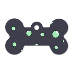 Green bubbles Dog Tag Bone (Two Sides)