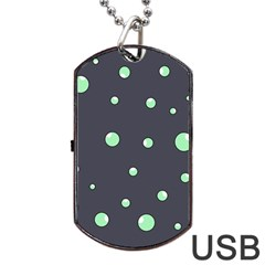Green bubbles Dog Tag USB Flash (Two Sides)