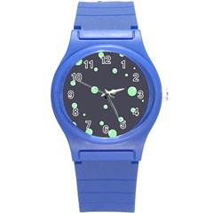 Green bubbles Round Plastic Sport Watch (S)