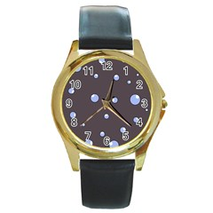 Blue bubbles Round Gold Metal Watch