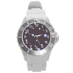 Blue bubbles Round Plastic Sport Watch (L)