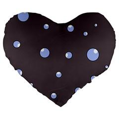 Blue bubbles Large 19  Premium Heart Shape Cushions