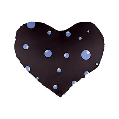 Blue bubbles Standard 16  Premium Flano Heart Shape Cushions