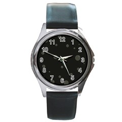 Gray bubbles Round Metal Watch