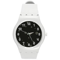 Gray bubbles Round Plastic Sport Watch (M)