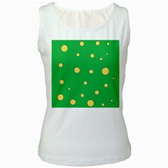 Yellow bubbles Women s White Tank Top