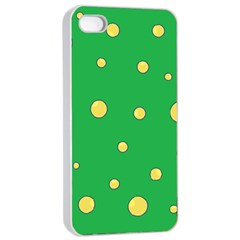 Yellow bubbles Apple iPhone 4/4s Seamless Case (White)