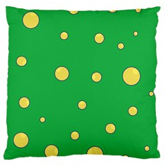 Yellow bubbles Large Cushion Case (One Side)