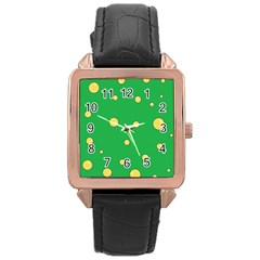Yellow bubbles Rose Gold Leather Watch