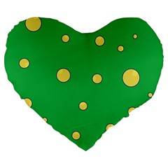 Yellow bubbles Large 19  Premium Flano Heart Shape Cushions