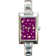 Purple and yellow bubbles Rectangle Italian Charm Watch