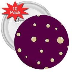 Purple and yellow bubbles 3  Buttons (10 pack)