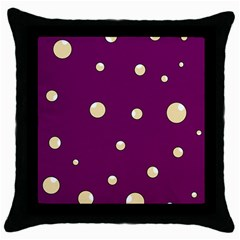 Purple and yellow bubbles Throw Pillow Case (Black)