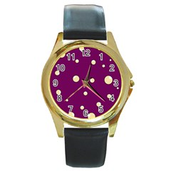Purple and yellow bubbles Round Gold Metal Watch