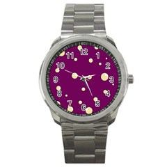 Purple and yellow bubbles Sport Metal Watch