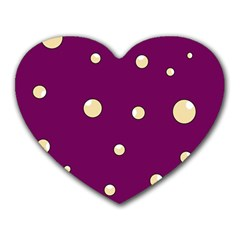 Purple and yellow bubbles Heart Mousepads