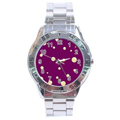 Purple and yellow bubbles Stainless Steel Analogue Watch