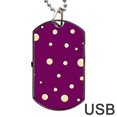 Purple and yellow bubbles Dog Tag USB Flash (One Side)