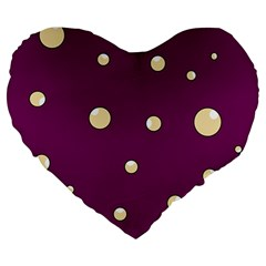 Purple and yellow bubbles Large 19  Premium Heart Shape Cushions
