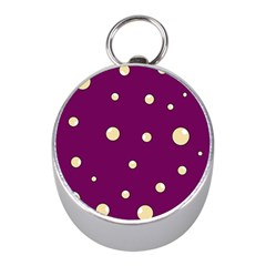 Purple and yellow bubbles Mini Silver Compasses