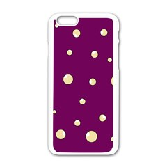 Purple and yellow bubbles Apple iPhone 6/6S White Enamel Case