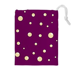 Purple and yellow bubbles Drawstring Pouches (Extra Large)