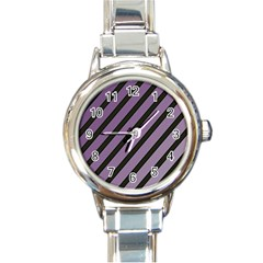 Purple elegant lines Round Italian Charm Watch