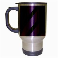 Purple elegant lines Travel Mug (Silver Gray)