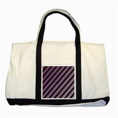 Purple elegant lines Two Tone Tote Bag