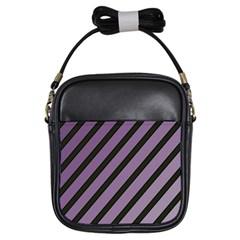 Purple elegant lines Girls Sling Bags
