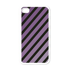 Purple elegant lines Apple iPhone 4 Case (White)