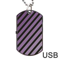 Purple elegant lines Dog Tag USB Flash (Two Sides)