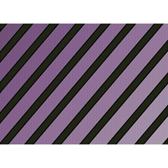 Purple elegant lines Birthday Cake 3D Greeting Card (7x5)