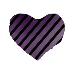Purple elegant lines Standard 16  Premium Heart Shape Cushions