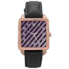 Purple elegant lines Rose Gold Leather Watch