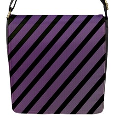Purple elegant lines Flap Messenger Bag (S)