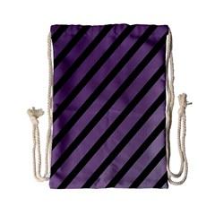 Purple elegant lines Drawstring Bag (Small)