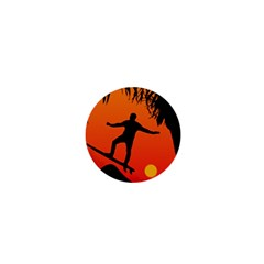 Man Surfing at Sunset Graphic Illustration 1  Mini Magnets