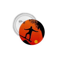 Man Surfing at Sunset Graphic Illustration 1.75  Buttons
