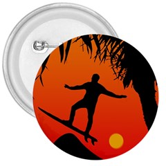 Man Surfing at Sunset Graphic Illustration 3  Buttons