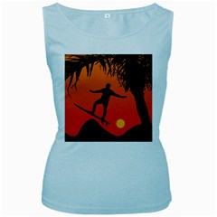 Man Surfing at Sunset Graphic Illustration Women s Baby Blue Tank Top