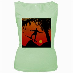 Man Surfing at Sunset Graphic Illustration Women s Green Tank Top