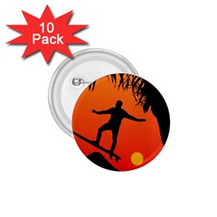 Man Surfing at Sunset Graphic Illustration 1.75  Buttons (10 pack)