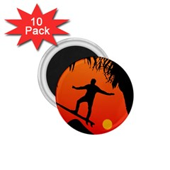 Man Surfing at Sunset Graphic Illustration 1.75  Magnets (10 pack)