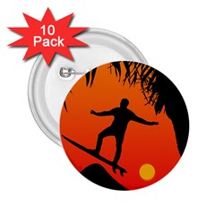 Man Surfing at Sunset Graphic Illustration 2.25  Buttons (10 pack)
