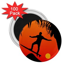 Man Surfing at Sunset Graphic Illustration 2.25  Magnets (100 pack)